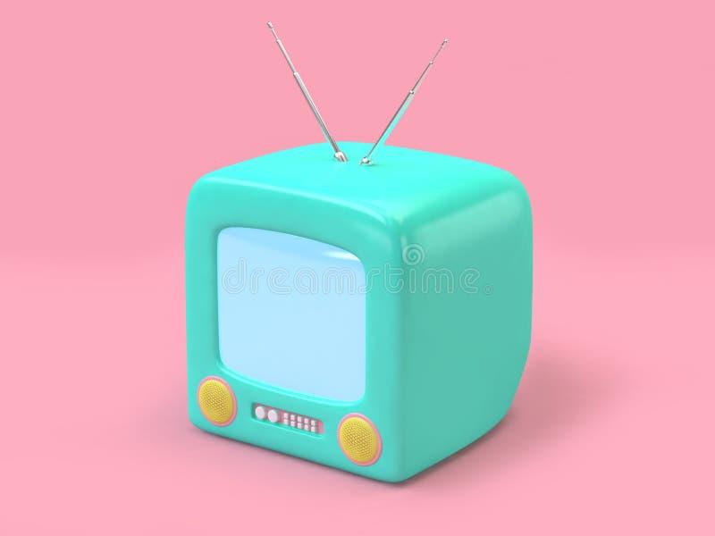 grön rosa bakgrund minsta 3d för gammal television att framföra teknologibegrepp royaltyfri illustrationer