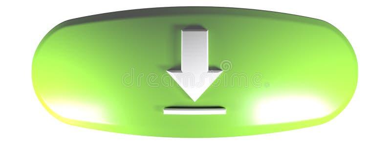 Grön rundad rektangelNEDLADDNING - illustration för tolkning 3D royaltyfri illustrationer
