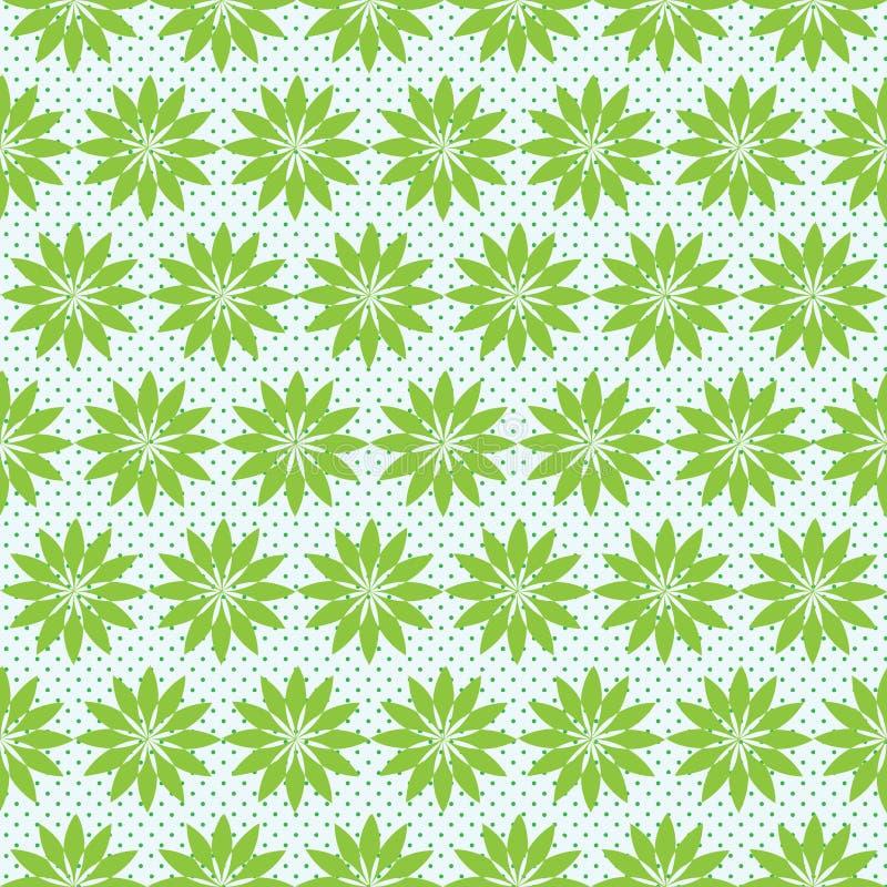 Grön sömlös blom- modell med små prickar royaltyfri illustrationer