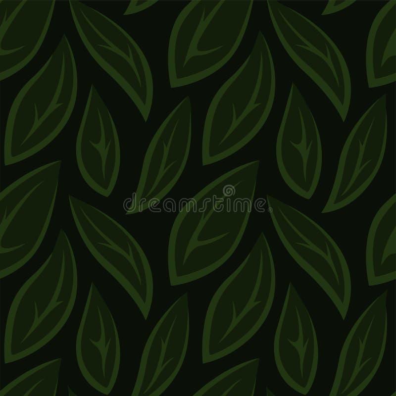 Grön sömlös blom- modell med stiliserade sidor royaltyfri illustrationer