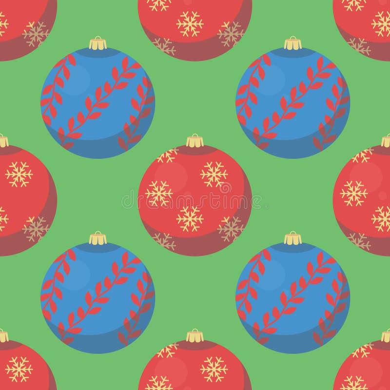 Grön sömlös julmodell med röda och blåa trädstruntsaker vektor illustrationer