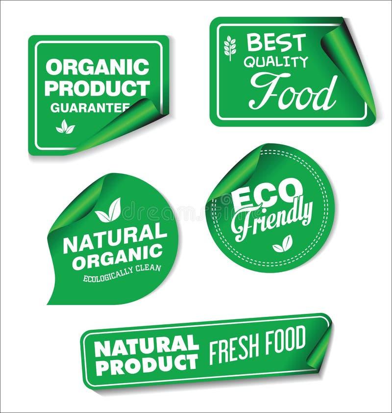 Grön samling för naturliga organiska produkter av etiketter och emblem vektor illustrationer
