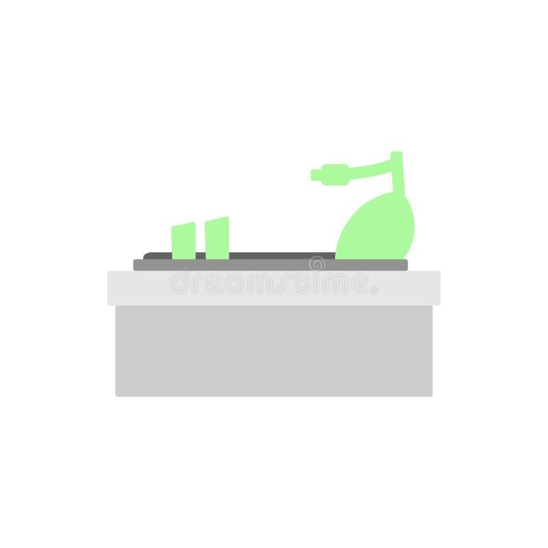Grön sandal med sidosikten, profil Kvinnasko stock illustrationer