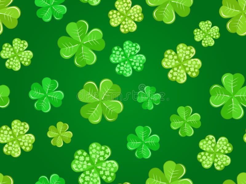 grön seamless shamrock för bakgrund royaltyfri illustrationer