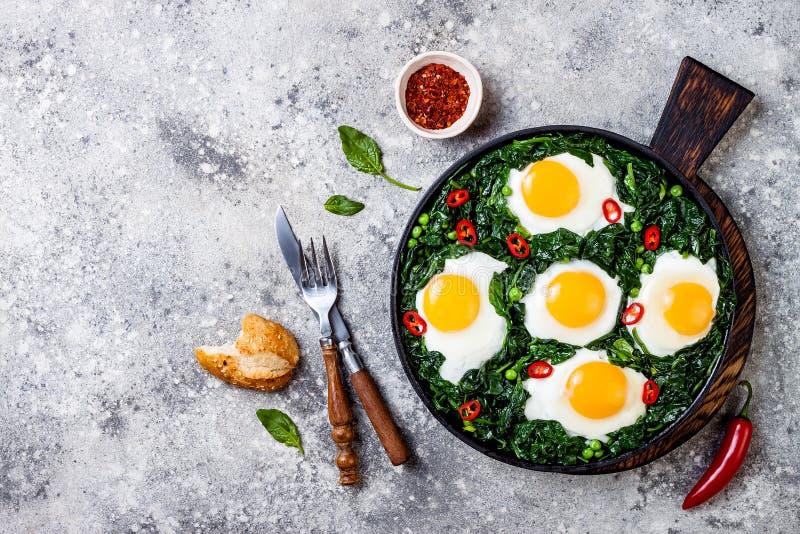 Grön shakshuka med spenat, grönkål och ärtor Lägger den bästa sikten för den sunda läckra frukosten, över huvudet som är plan royaltyfri foto