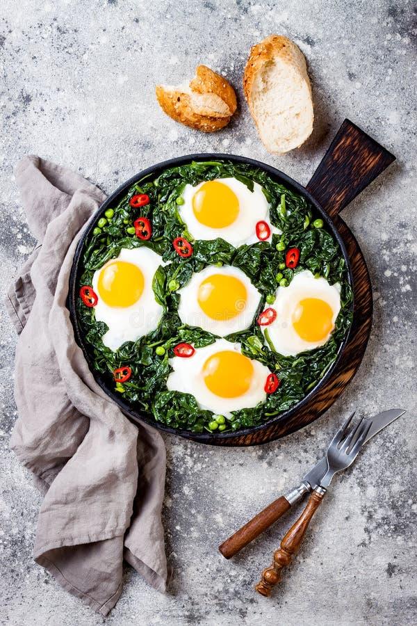 Grön shakshuka med spenat, grönkål och ärtor Lägger den bästa sikten för den sunda läckra frukosten, över huvudet som är plan fotografering för bildbyråer