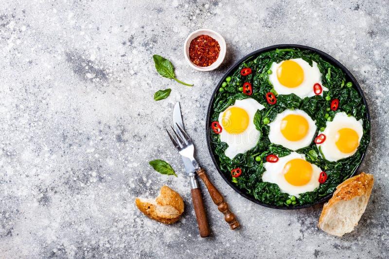 Grön shakshuka med spenat, grönkål och ärtor Lägger den bästa sikten för den sunda läckra frukosten, över huvudet som är plan arkivfoto