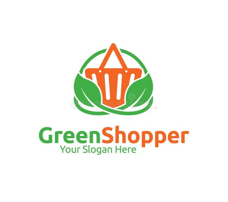 Grön shoppare Logo Template stock illustrationer