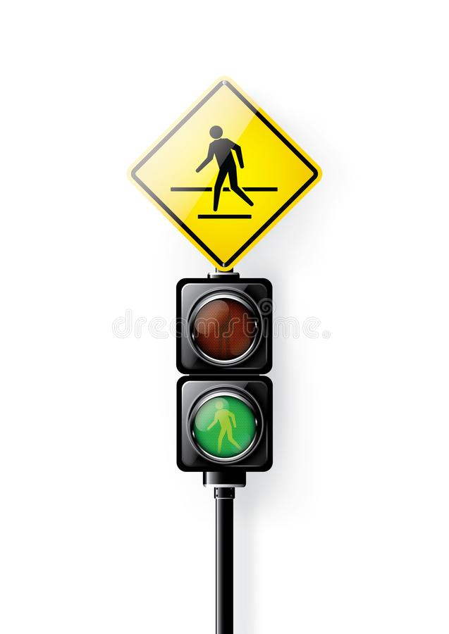 Grön signal, trafikljus för folkövergångsställe som isoleras på vit bakgrund arkivbilder