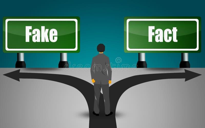 Grön signsa för riktning två, faktum eller att fejka stock illustrationer