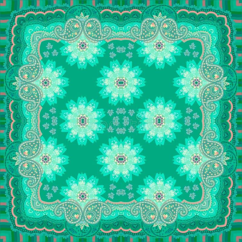 Grön sjal i orientalisk stil Paysley prydnad och härlig mandalablomma accessory innegrej royaltyfri illustrationer