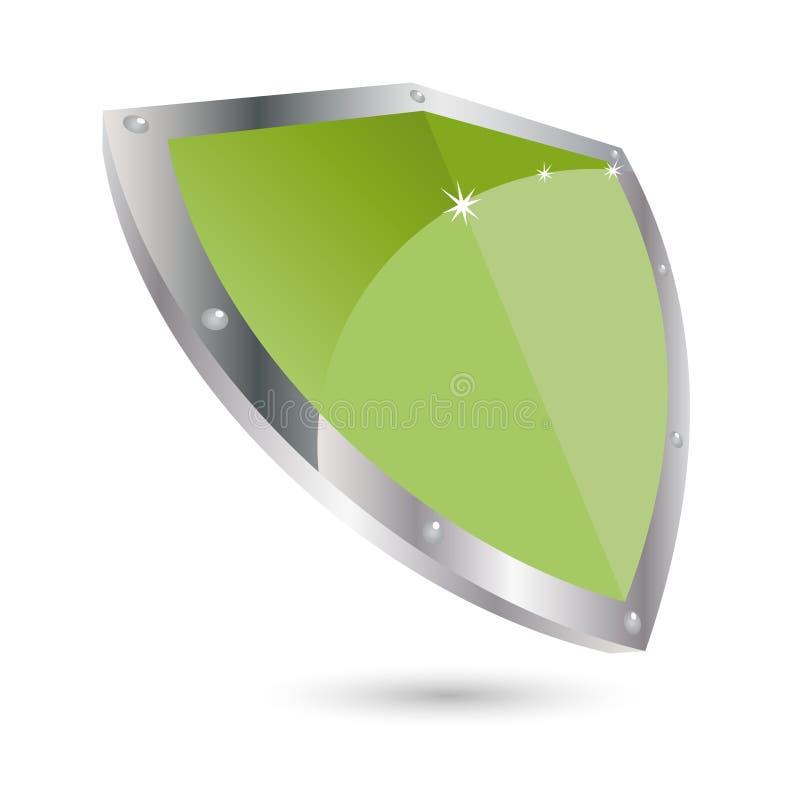 grön sköld stock illustrationer