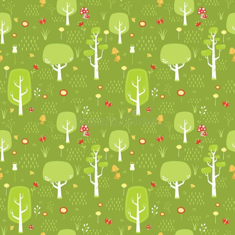 Grön skog med modellDigital för träd, för blommor, för champinjoner, för fjäril och för gräs den plana illustrationen för sömlös  stock illustrationer