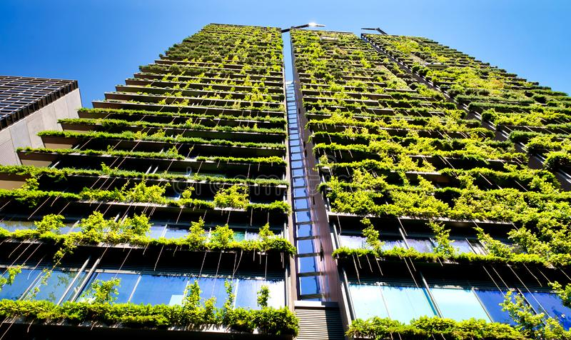 Grön skyskrapabyggnad med växter som växer på fasaden mot blå himmel Ekologi- och gr?splanuppeh?lle i staden, stads- milj? fotografering för bildbyråer