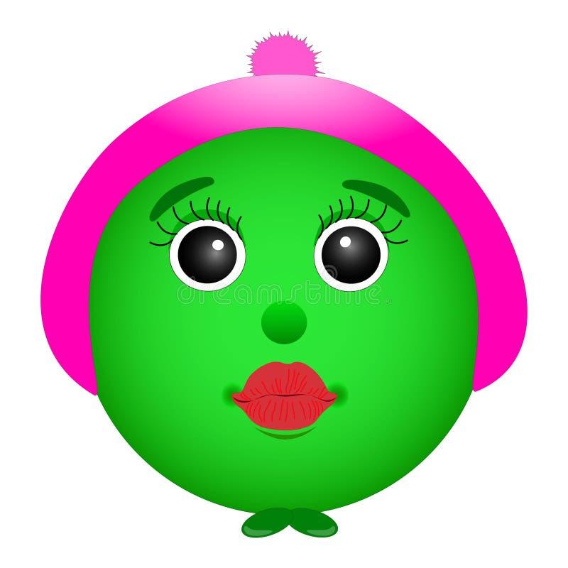 Grön smiley i en hatt, flicka med röda kanter, illustration royaltyfri illustrationer