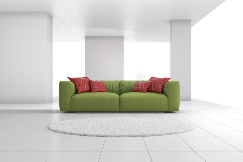 Grön soffa i ljus rumcloseup vektor illustrationer