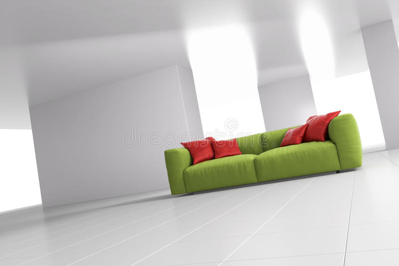Grön soffa i vinkelformigt ljust rum royaltyfri illustrationer