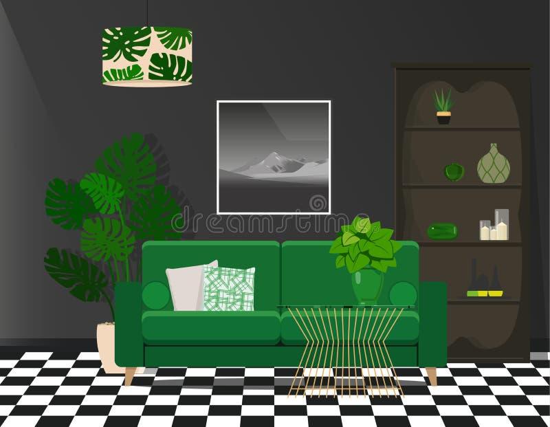 Grön soffa mot en svart vägg Kontrastera ljus inre royaltyfri illustrationer