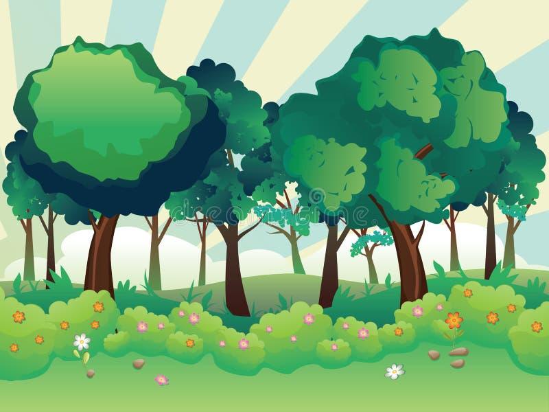 grön sommar för skog stock illustrationer