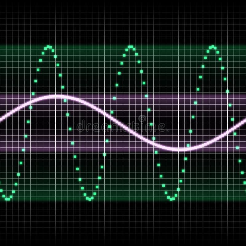 grön sound wave stock illustrationer