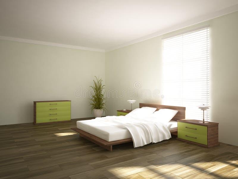 Grön sovruminredesign stock illustrationer