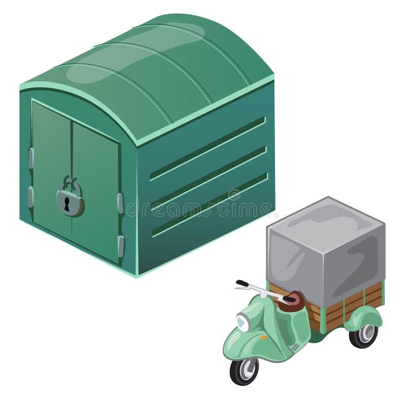 Grön sparkcykel med tältet och det stängda garaget royaltyfri illustrationer