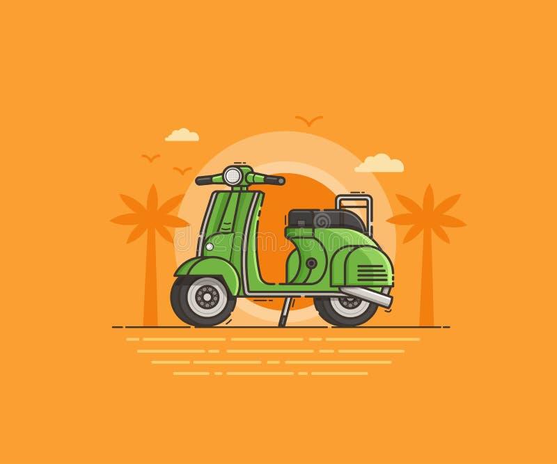 Grön sparkcykel på havskust stock illustrationer