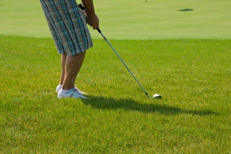 grön spelare för golf royaltyfri foto