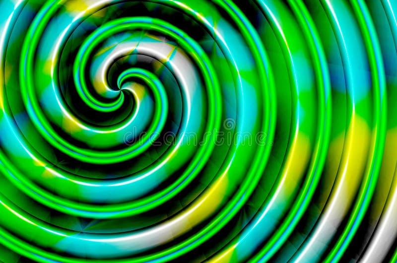 Grön spiral för blåttgulingsvart stock illustrationer