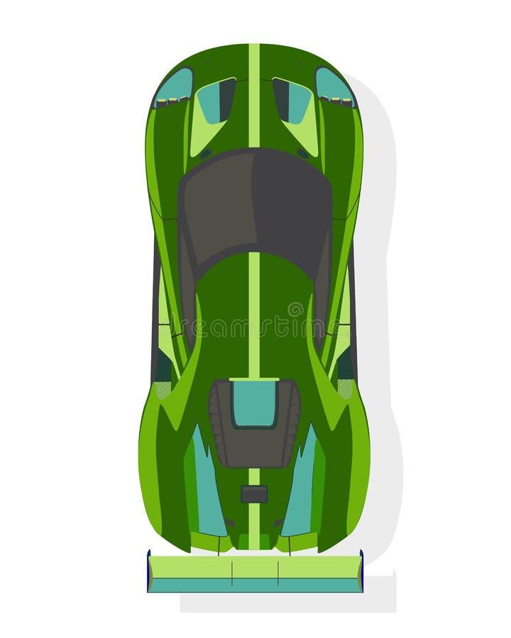 Grön sportbil, bästa sikt i plan stil på en vit bakgrund vektor illustrationer