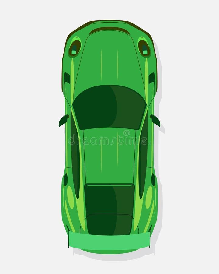 Grön sportbil, bästa sikt i plan stil som isoleras på en vit bakgrund royaltyfri illustrationer