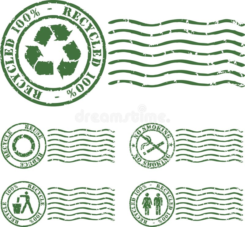 grön stämpel royaltyfri illustrationer