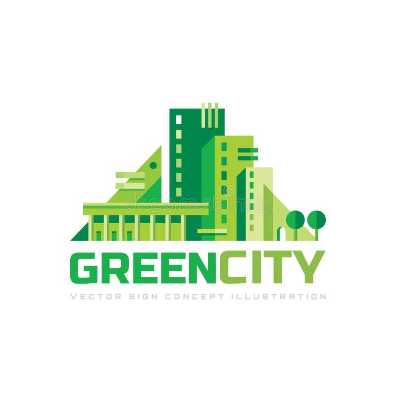 Grön stad - illustration för vektor för begreppslogomall Idérikt tecken för abstrakt byggnad Eco hussymbol för delshus för gods f stock illustrationer