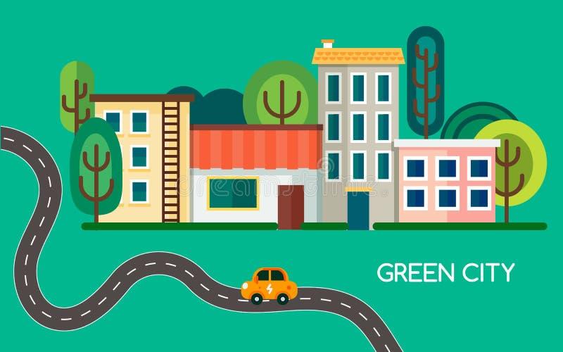 Grön stad med många träd, vinkande väg och elkraftmedel Lilla staden med byggnader, hus och shoppar vektor royaltyfri foto