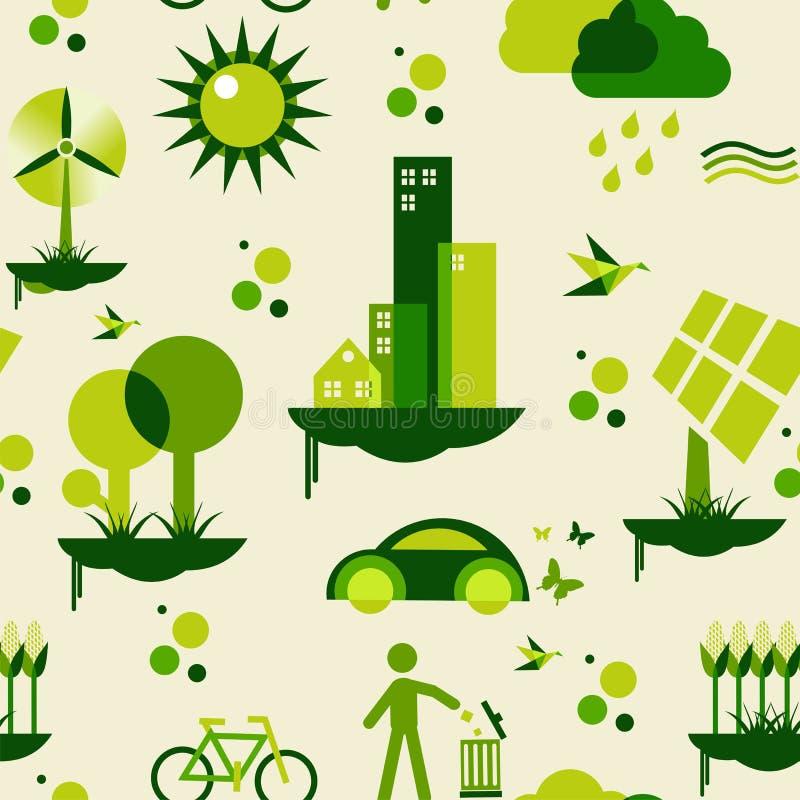 Grön stadsmodell royaltyfri illustrationer