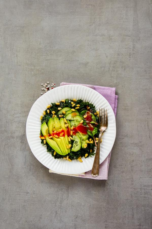 Grön strikt vegetariansallad royaltyfri foto