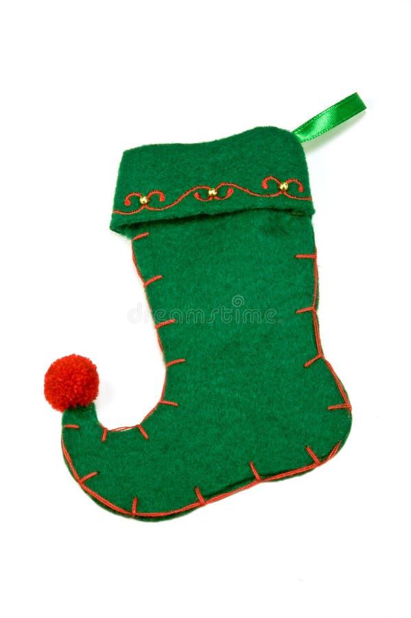 grön strumpa för jul royaltyfri foto