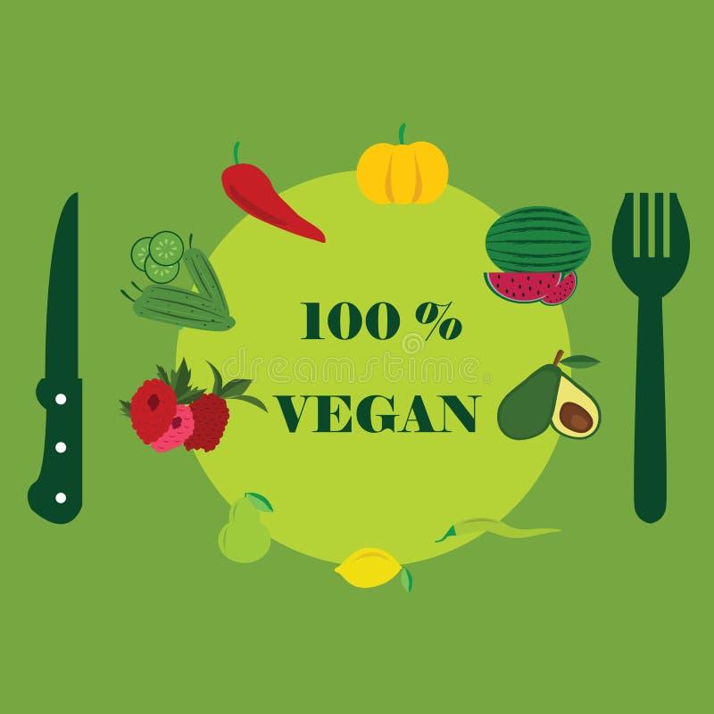 Grön sund vegetarisk mat för lunch med vänner royaltyfri illustrationer