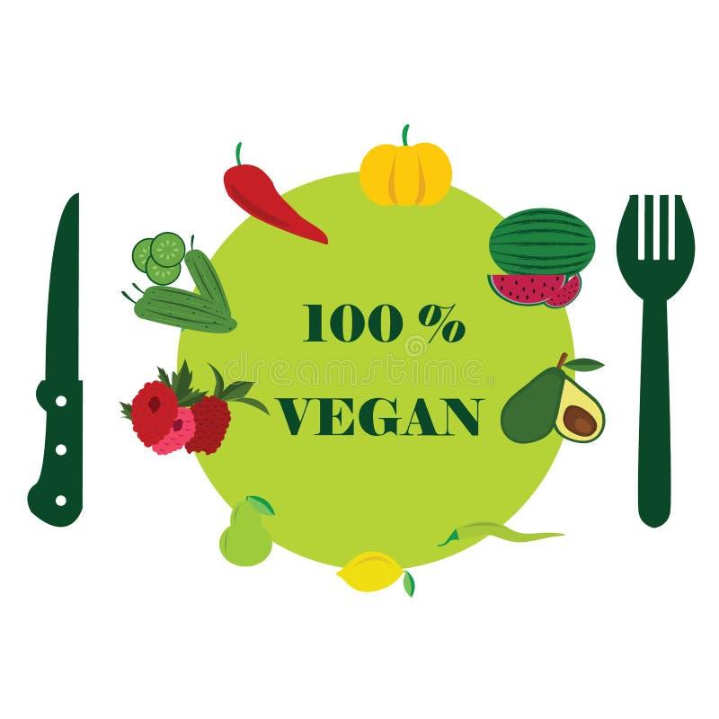 Grön sund vegetarisk mat för lunch med vänner vektor illustrationer
