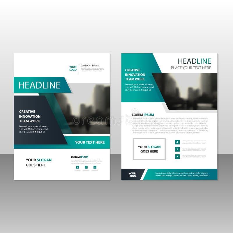 Grön svart design för mall för reklamblad för broschyr för vektorårsrapportbroschyr, bokomslagorienteringsdesign, abstrakt affärs stock illustrationer