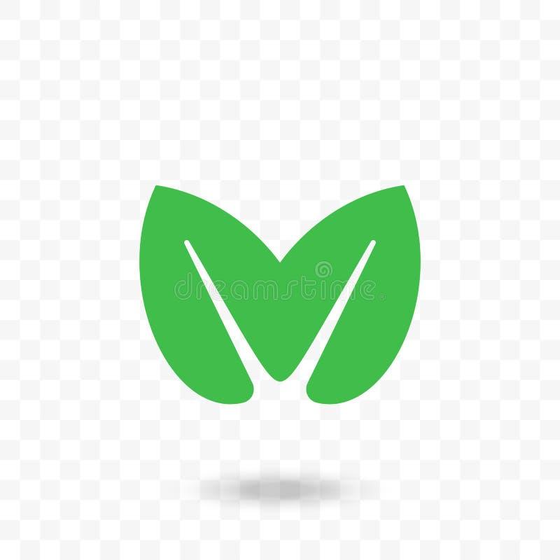 Grön symbol för bladhjärtavektor för strikt vegetarian, bio eco vektor illustrationer