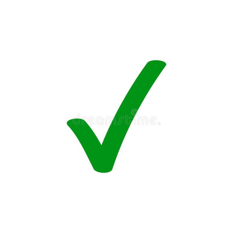 Grön symbol för fästingcheckmarkvektor royaltyfri illustrationer