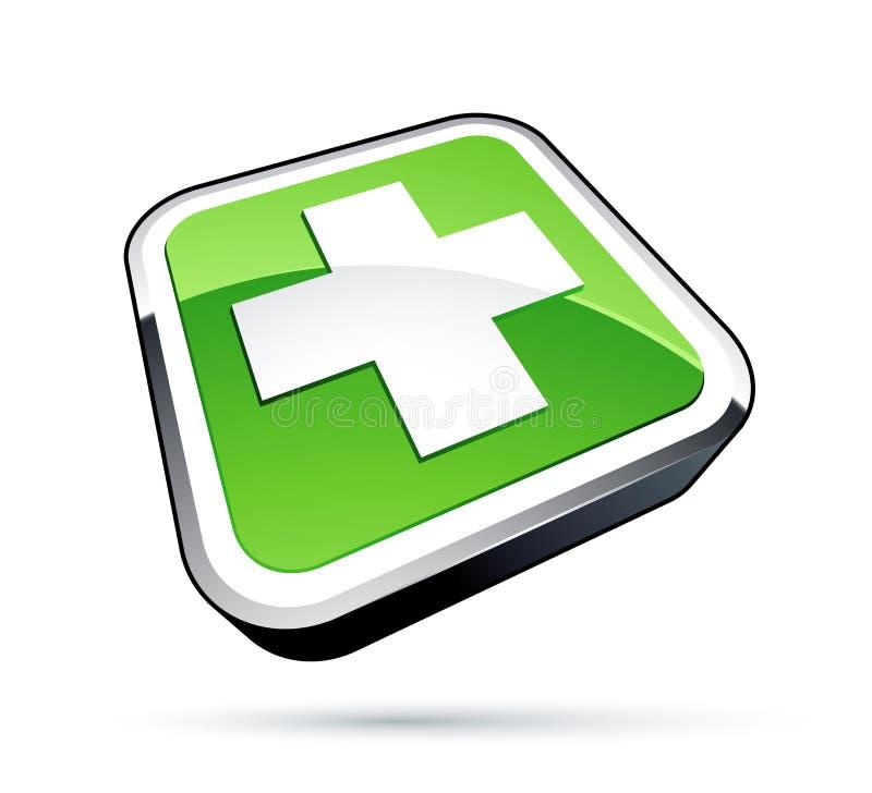grön symbol för kors royaltyfri illustrationer