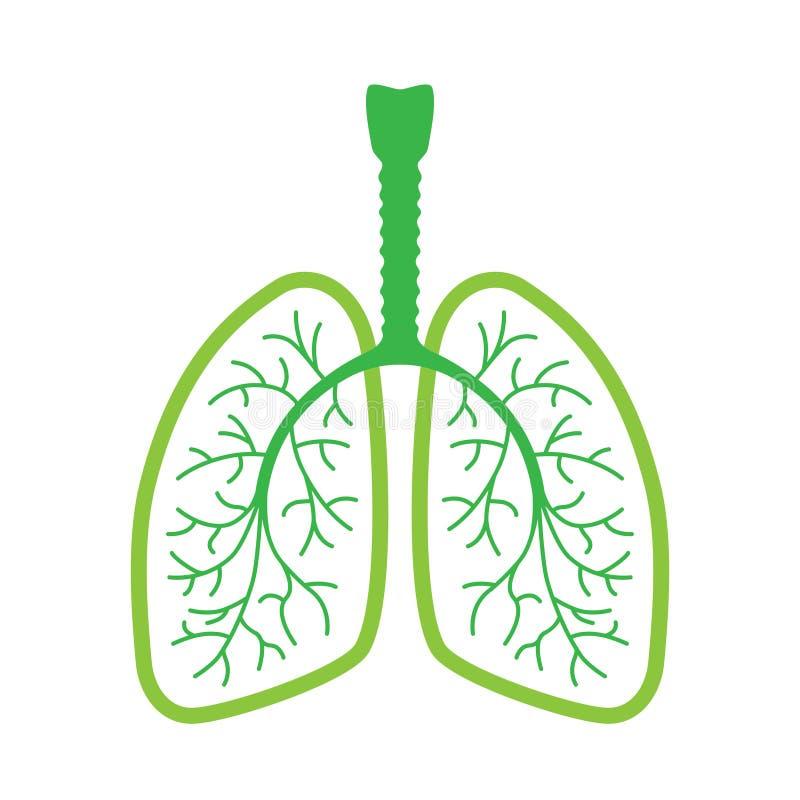 Grön symbol för mänskliga lungor royaltyfri illustrationer