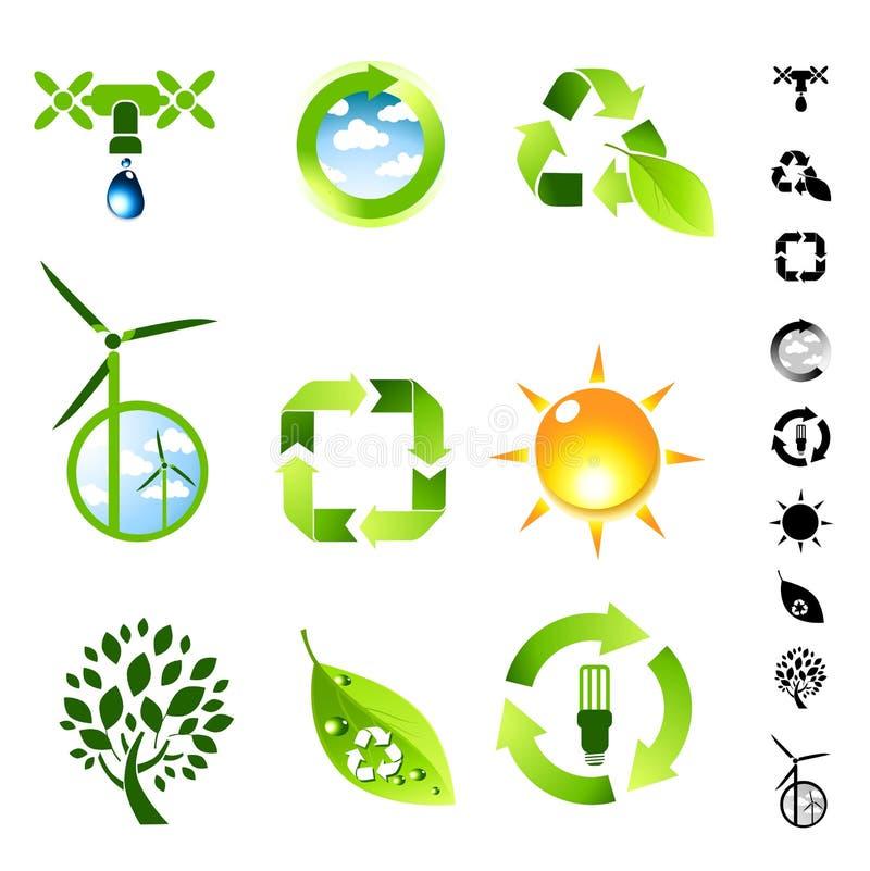 grön symbolslivingset stock illustrationer
