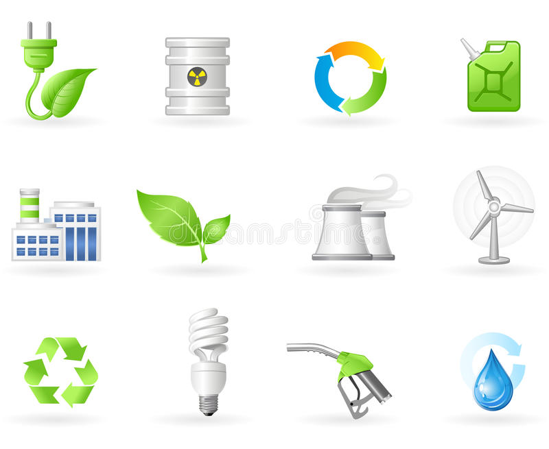 grön symbolsset för energi royaltyfri illustrationer