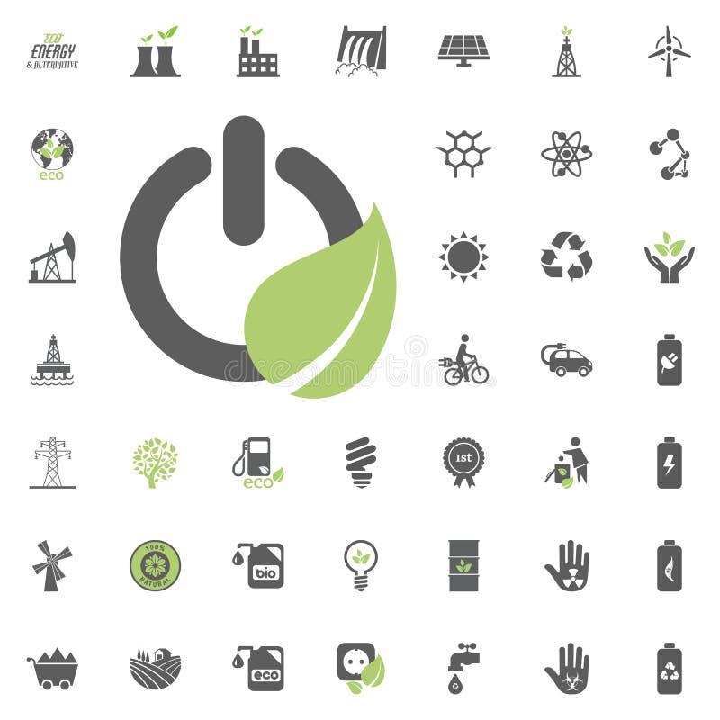grön symbolsström Uppsättning för Eco och för alternativ energi vektorsymbol Vektor för uppsättning för resurs för makt för elekt royaltyfri illustrationer