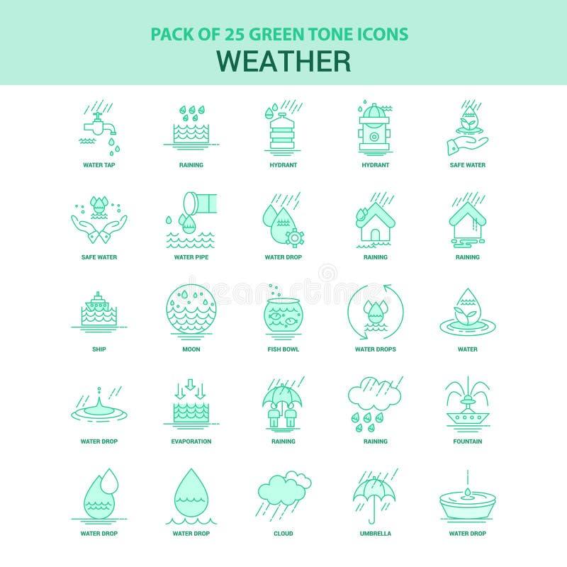 Grön symbolsuppsättning för väder 25 royaltyfri illustrationer