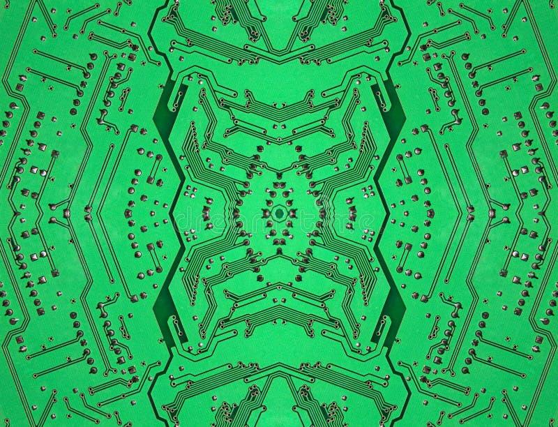Grön symmetrisk elektronisk microcircuit tagen closeup vektor illustrationer