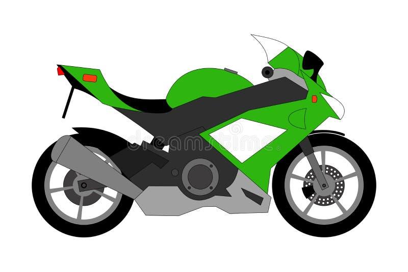 Grön tävlings- motorcykel som isoleras på vit bakgrund stock illustrationer